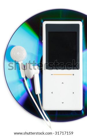 Modern MP3 player and CD disk on a white background. Close up. - stock photo