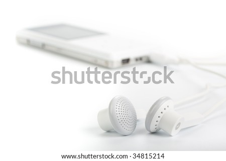 Modern MP3 player on a white background. Close up. - stock photo