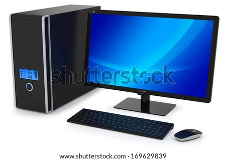Modern multimedia desktop PC. - stock photo