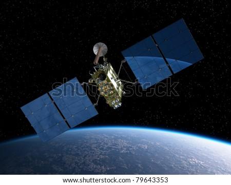 Modern navigation satellite - stock photo