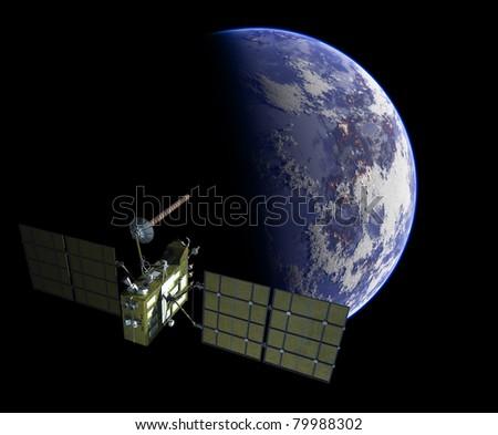 Modern navigation satellite glonass - stock photo