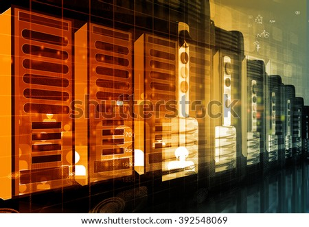 Modern network server room in data center  - stock photo