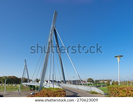 modern new bicycle and pedestrian suspension, bridge in zwolle, netherlands - stock photo