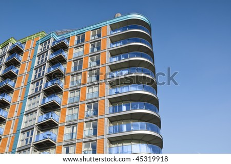 Modern, new executive apartment building in London. - stock photo