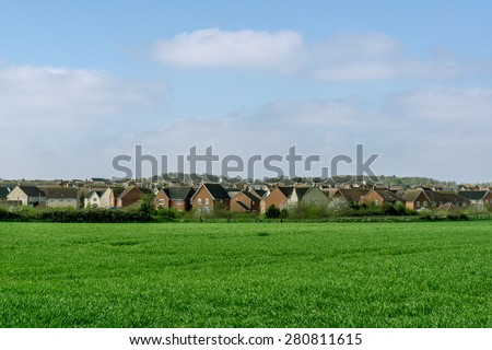 Modern new housing development, in rural Suffolk, England - stock photo