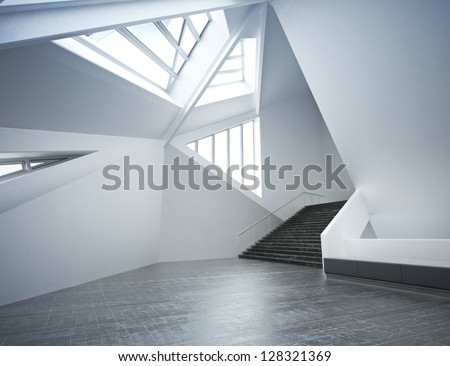 Modern new interior, empty room  apartment or office business - stock photo