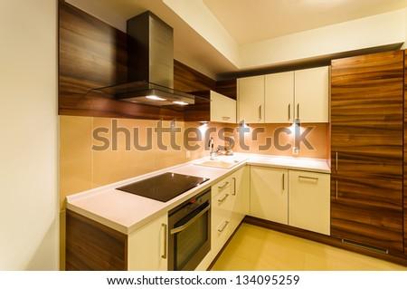 Modern new kitchen apartment lights, Krakow, Poland - stock photo