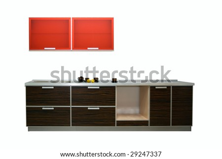 Modern new kitchen isolated on white background - stock photo