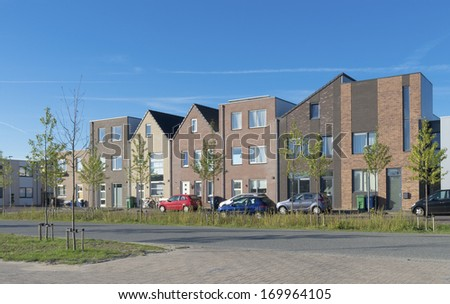 modern new residential houses in almere, netherlands