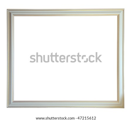 Modern new white picture frame, isolated with clipping path - stock photo