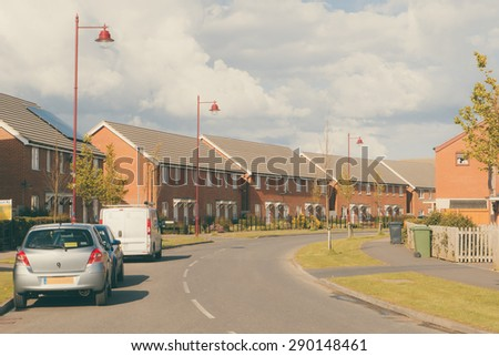 Modern newly built housing development conceptual image - stock photo