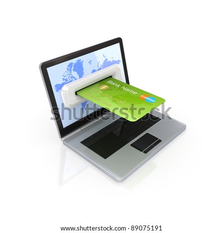 Modern notebook and green credit card.Isolated on white background.3d rendered. - stock photo