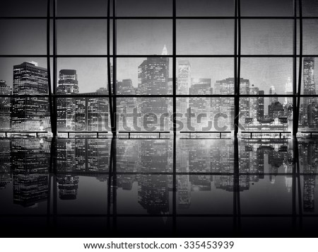 Modern NYC Interior Architecture Night Scene Concept - stock photo