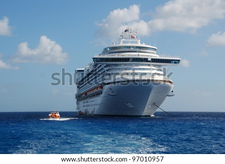 Modern ocean liner closeup view - stock photo