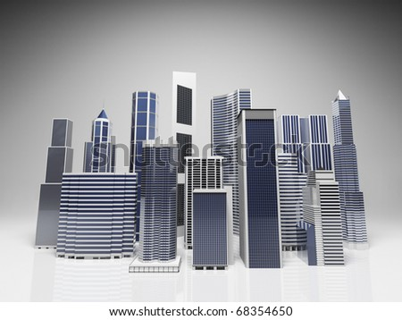 Modern office and skyscrapers composition