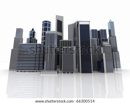 Modern office and skyscrapers with reflection on skyline - stock photo