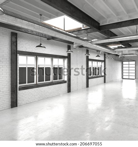 Modern office atrium or hall with a shiny white floor reflecting overhead lights with a row of windows along one wall - stock photo