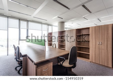 Modern office building and a conference room - stock photo