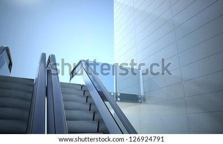 Modern office building and moving escalator stairs