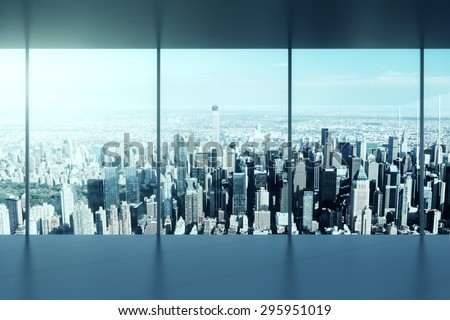 Modern office building and view to city - stock photo
