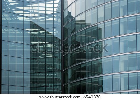 Modern office building glass facade fragment