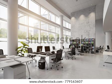 modern interior office stock. Modern Office Building Interior. 3d Rendering Concept Interior Stock D
