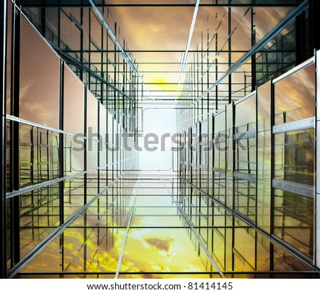 Modern office building seen from a low angle - stock photo