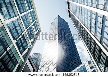 modern office buildings in low angle view - stock photo