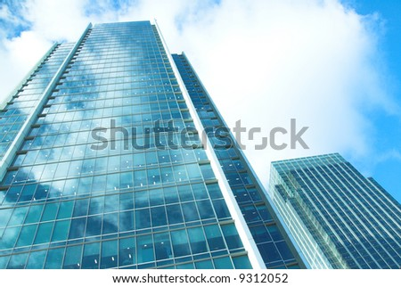 Modern office buildings in strong sunlight