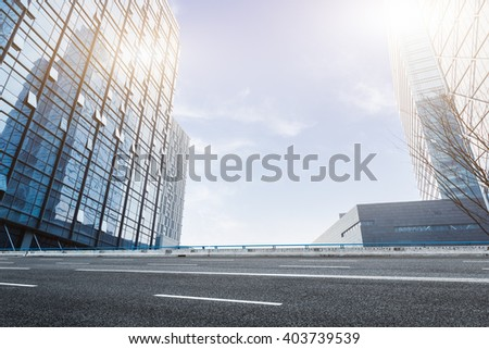modern office buildings under clear sky - stock photo
