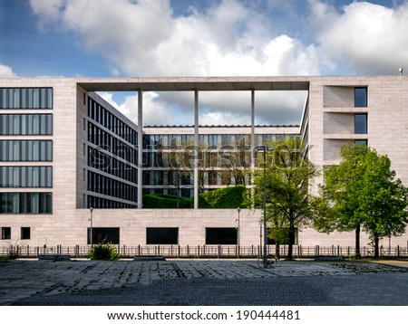 Modern office bulding of concrete and glass in Berlin, Germany