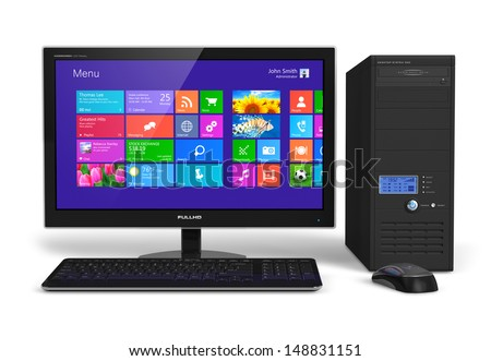 Modern office business desktop computer PC system: monitor with touchscreen interface with color icons, tower case, keyboard and mouse isolated on white background - stock photo