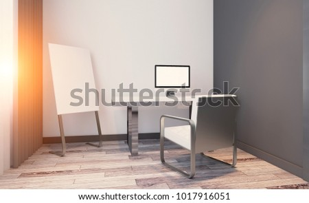 Modern office Cabinet. Meeting room. 3D rendering.. Sunset