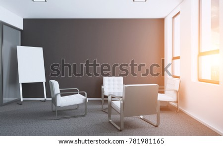 Modern office Cabinet. Meeting room. 3D rendering. Sunset