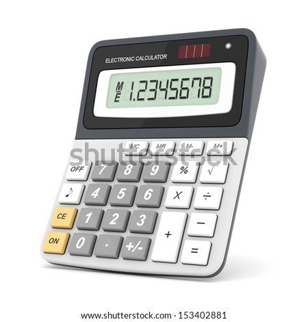 Modern office calculator on a white background - stock photo