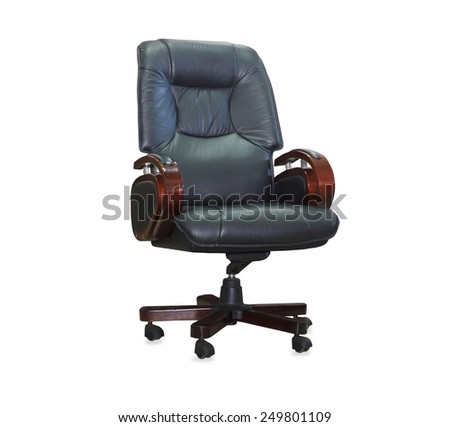 Modern office chair from black leather. Isolated - stock photo