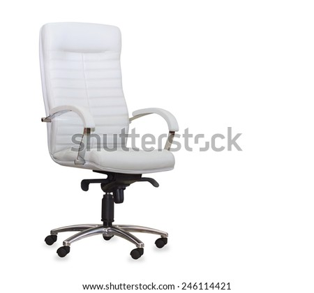 Modern office chair from white leather. Isolated - stock photo