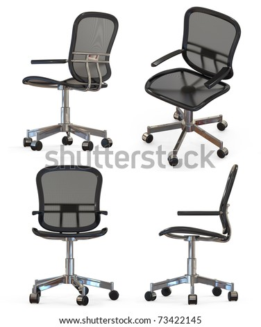 Modern office chair in different positions isolated on white