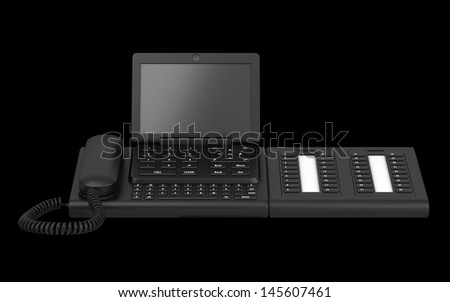 modern office desk phone isolated on black background