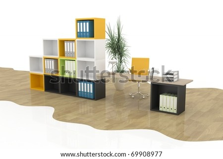 modern office furniture on a white - stock photo