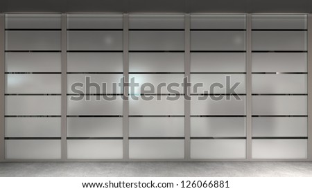 Modern office glass wall with matted panels - stock photo