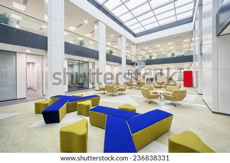 modern office hall interior - stock photo