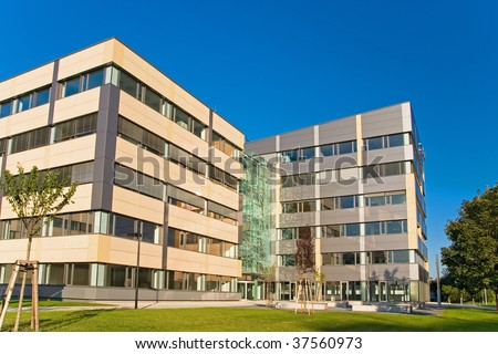 Modern office in green - stock photo
