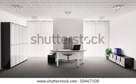 Modern office interior 3d render - stock photo