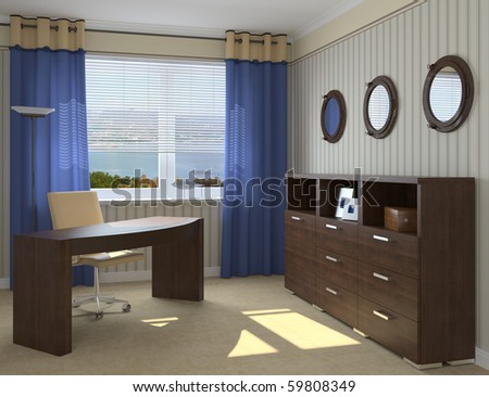 Modern office interior. 3d render. - stock photo
