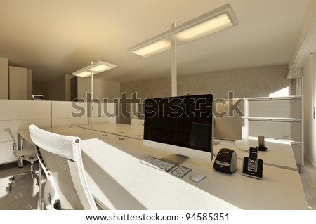 modern office interior design, workplace with computer - stock photo