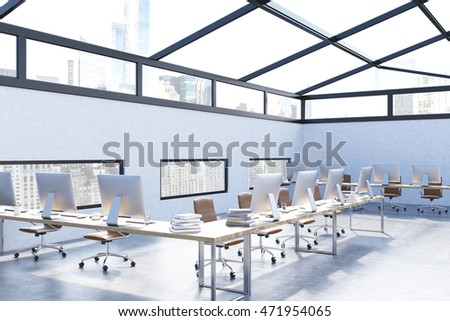 Modern office interior in attic of skyscraper. Blue walls, computers and books on tables. Concept of law company. 3d rendering.