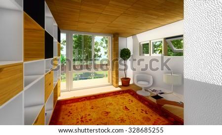 Modern office interior lit by sunlight - stock photo