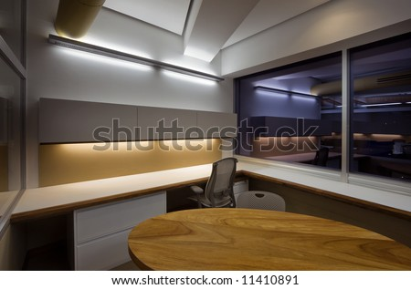 Modern office interior, night shot