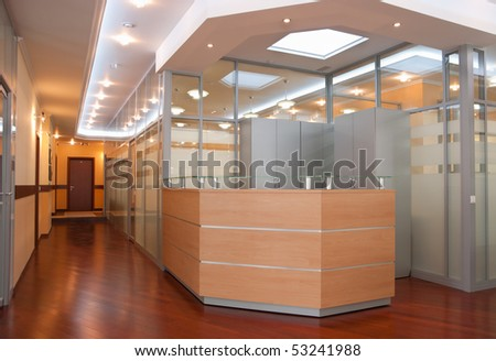 Modern office interior - reception and perspective of corridor - stock photo